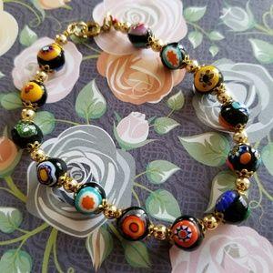 Vintage Italian Millefiori glass bead bracelet